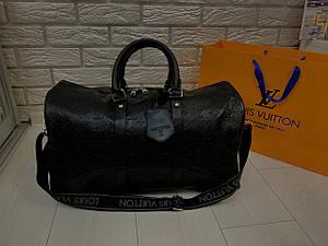 Дорожная сумка мужская Louis Vuitton LV 50 см  (реплика) ручная кладь Черная