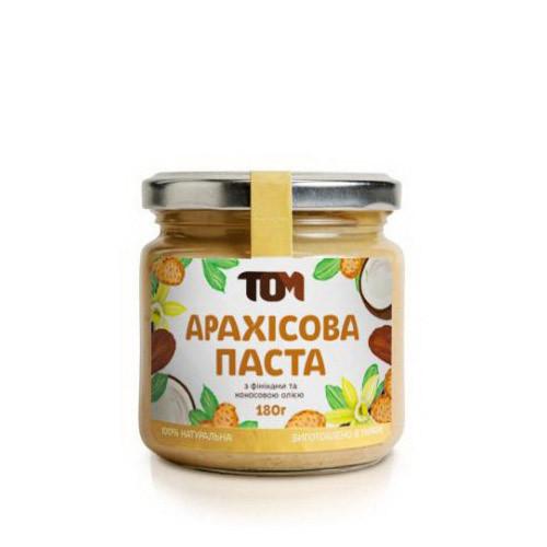 Натуральная арахисовая паста TOM (180 г) з фініками та кокосовою олією