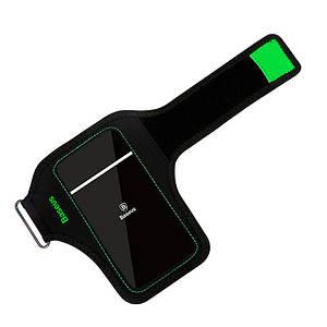 Спортивный чехол на руку Baseus Flexible Wristband Green для телефонов до 5.8'' CWYD-B06 (Чёрно-зеленый)