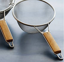 Дуршлаг-сито усиленный с деревянной ручкой 21 см арт. 840-1102012, фото 2