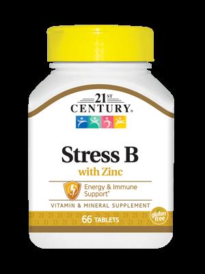 Комплекс витаминов 21st Century Stress B with Zinc (66 таб) 21 век центури