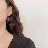Lux - ніжні сережки з квітами-кубічними цирконами та посрібленням, фото 2
