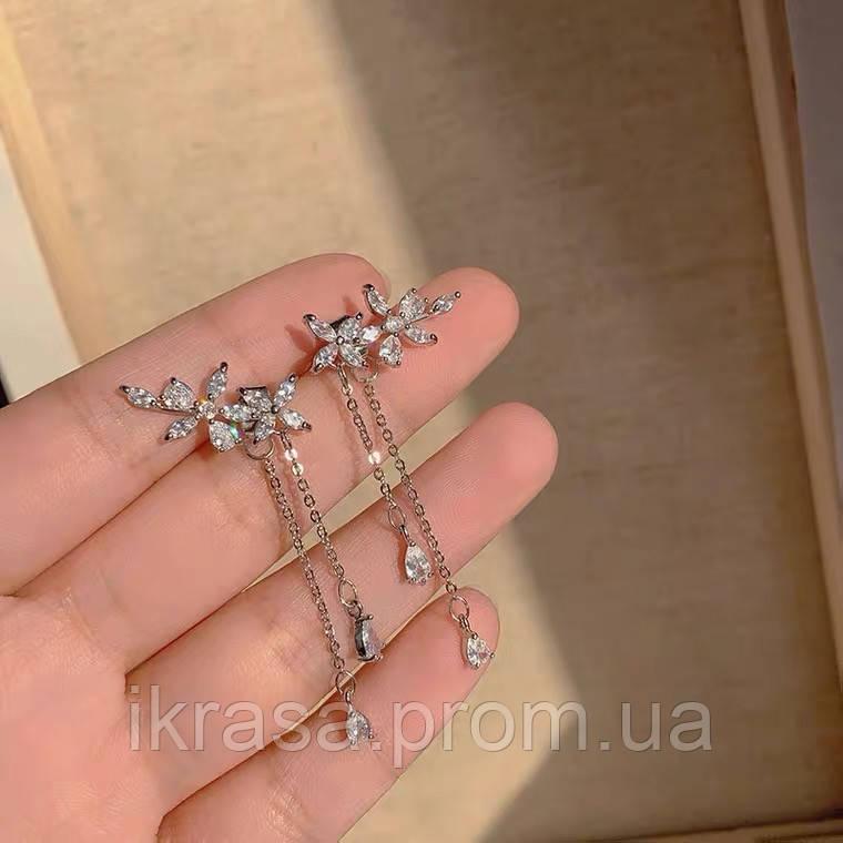 Lux - ніжні сережки з квітами-кубічними цирконами та посрібленням