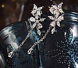 Lux - ніжні сережки з квітами-кубічними цирконами та посрібленням, фото 3