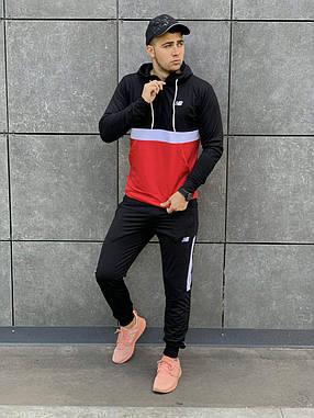 Спортивный костюм в стиле New Balance красный с черным, фото 2