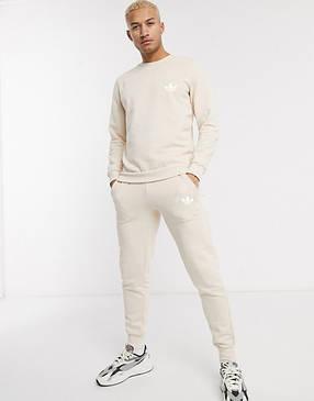 Спортивный костюм мужской Adidas (Адидас) Бежевый, фото 2