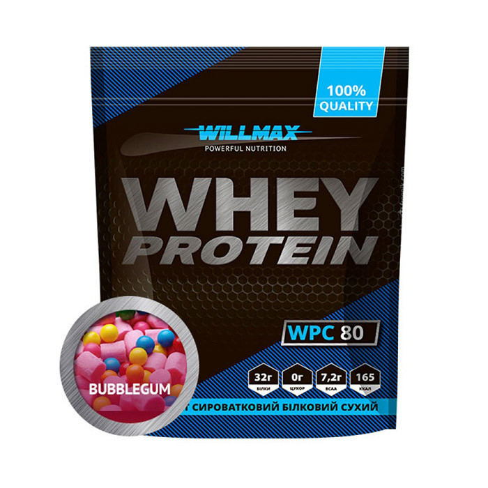 Сироватковий протеїн концентрат Товарwillmax Whey Protein 80 (1 кг) вилмакс вей полуниця