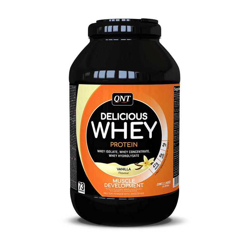 Сывороточный протеин концентрат QNT Delicious Whey Protein (2,2 кг) делишс вей creamy cookie