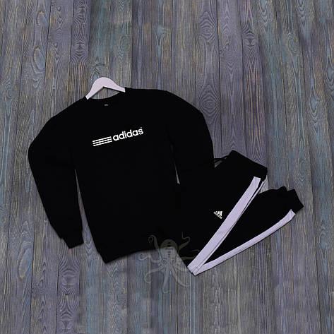 Спортивний костюм реглан черный штаны с лампасом адидас, фото 2