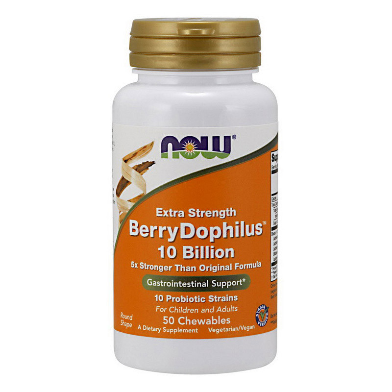 Пробиотики Now Foods  BerryDophilus 10 Billion (50 жувач) нау фудс