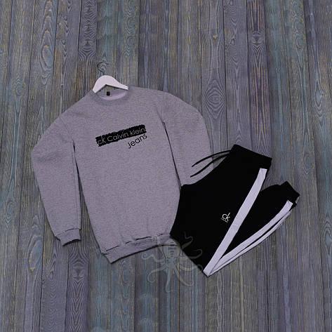 Спортивний костюм реглан сіра кофта, чорні штани адідас, фото 2