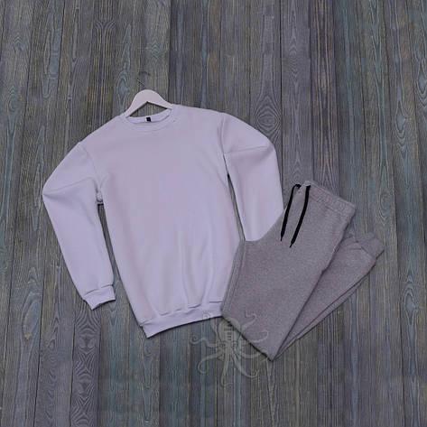 Спортивний костюм реглан белая кофта и серые штаны, фото 2