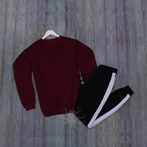 Спортивний костюм реглан червона кофта і чорні штани, фото 2