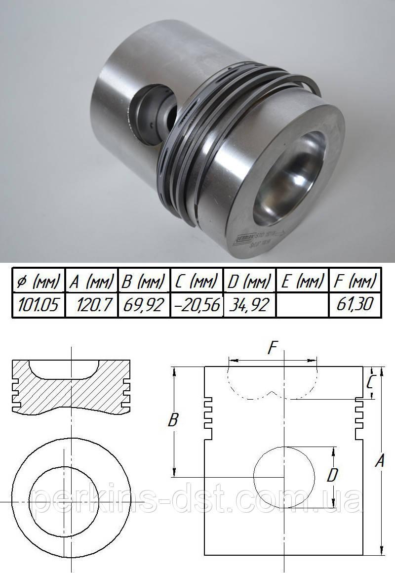 Поршень с кольцами на двигатель Perkins a4 248