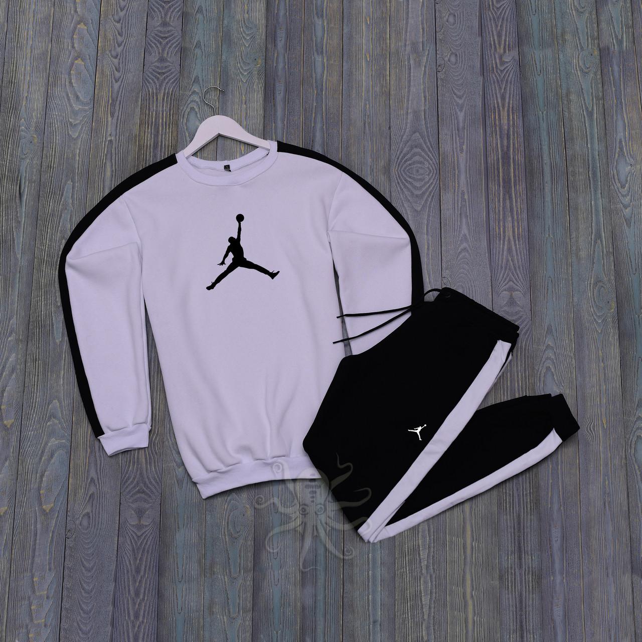 Спортивний костюм реглан белая кофта и черные штаны Джордан