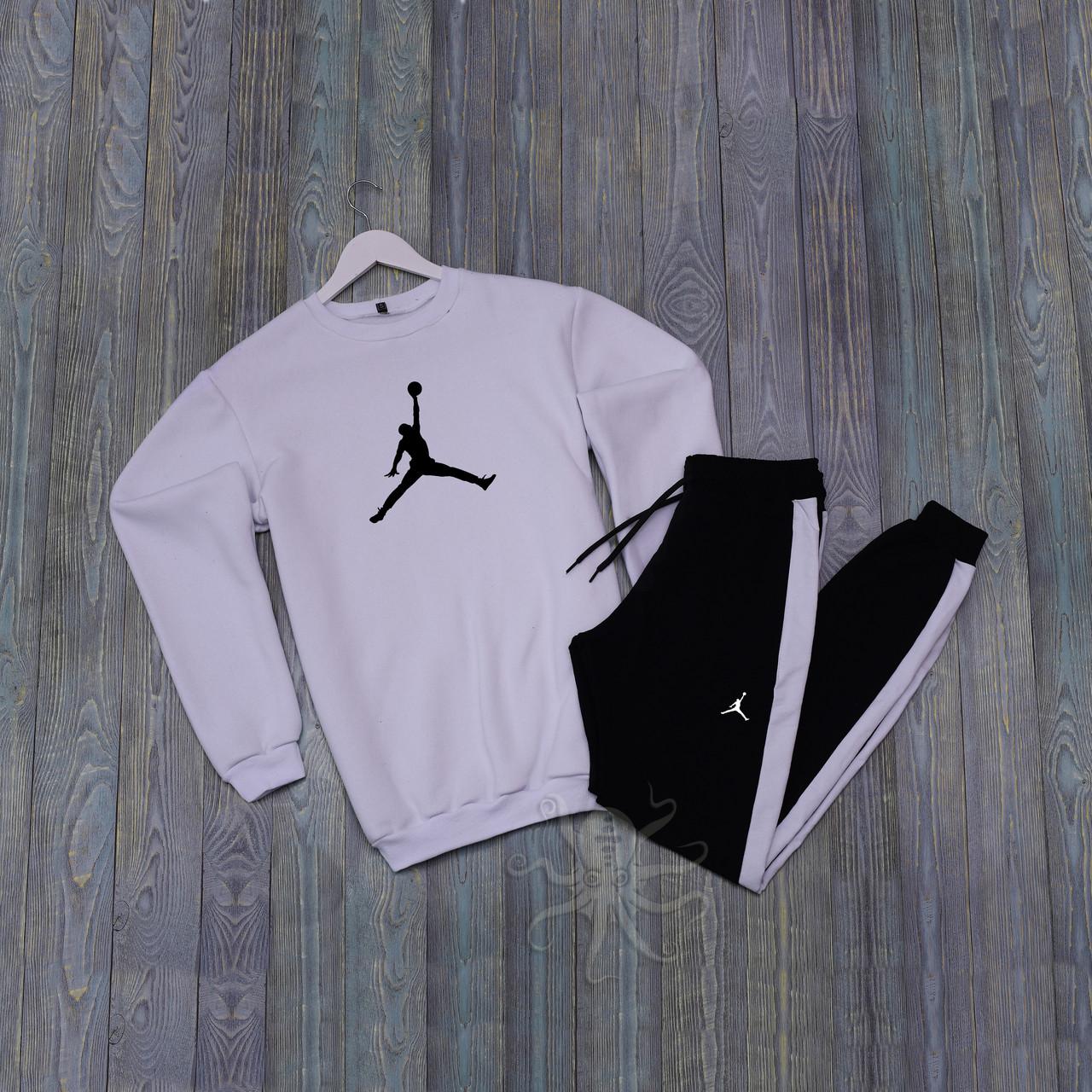 Спортивний костюм реглан біла кофта і чорні штани Джордан
