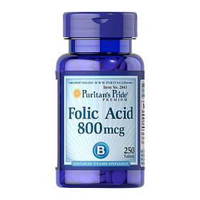 Фолиевая кислота Puritan's Pride Folic Acid 800 mcg (250 таб) пуританс прайд