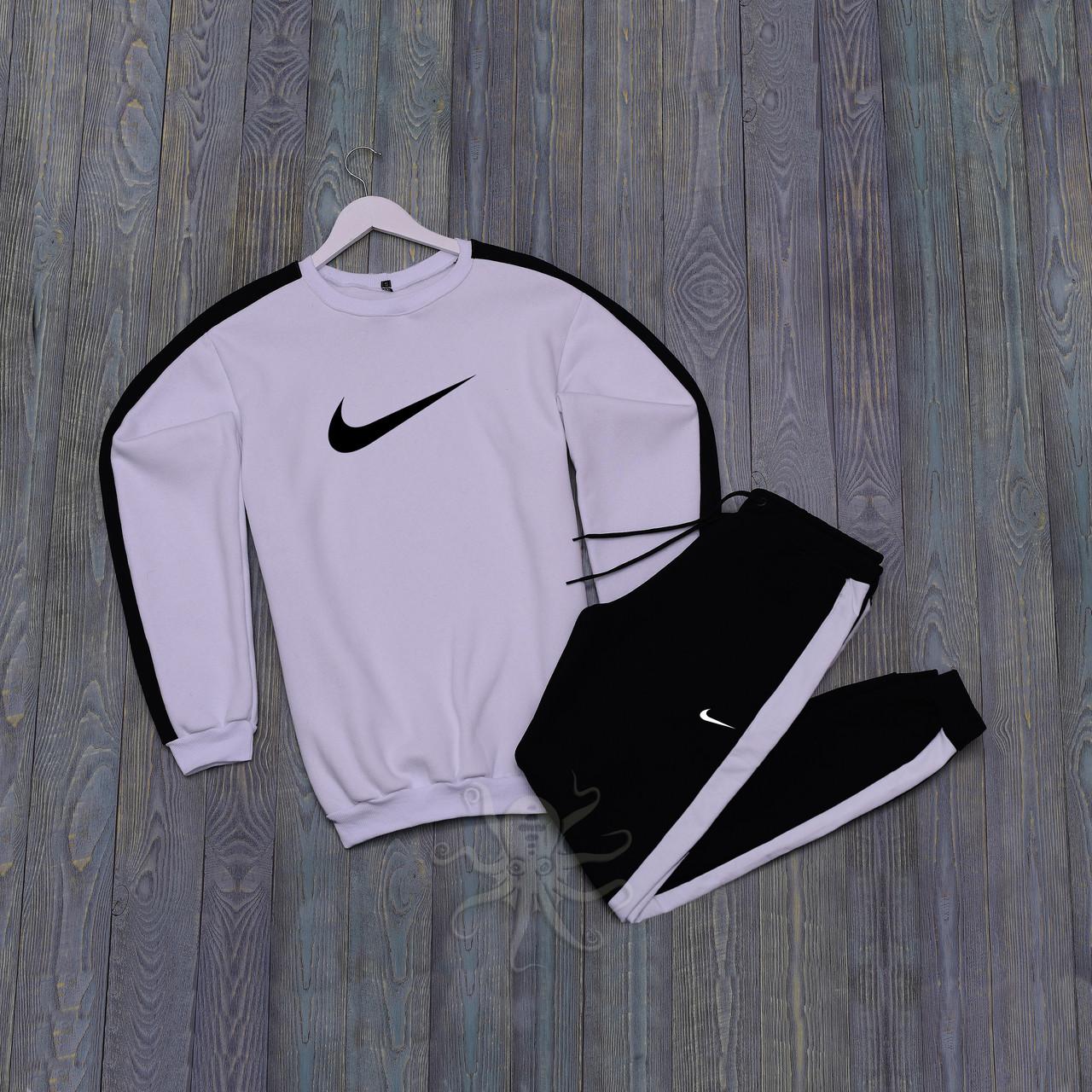 Спортивний костюм реглан біла кофта і чорні штани найк