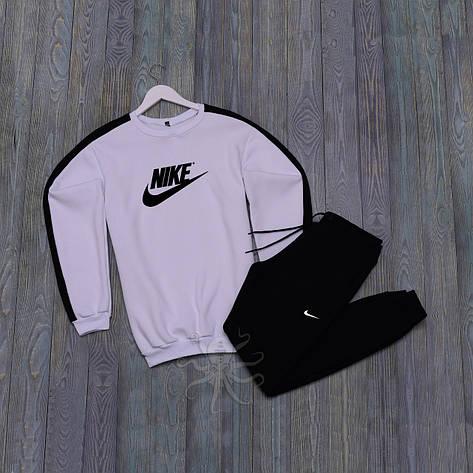 Спортивний костюм реглан белая кофта и черные штаны найк, фото 2