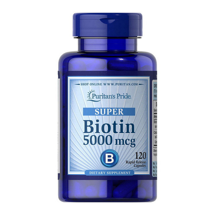 Биотин Puritan's Pride Biotin 5000 mcg (120 капс) витамин б7 b7 пуританс прайд