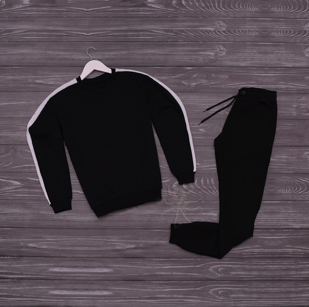 Спортивний костюм реглан чорний з білим лампасом