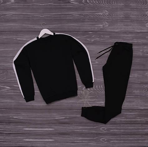 Спортивний костюм реглан чорний з білим лампасом, фото 2
