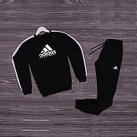 Спортивний костюм мужской реглан черный адидас