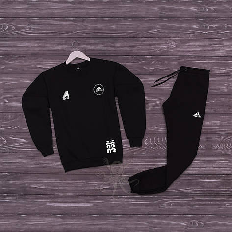 Спортивний костюм реглан черный адидас, фото 2