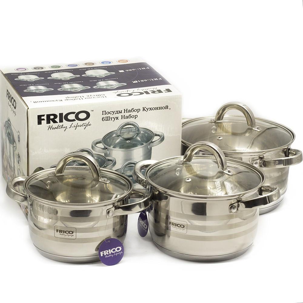 Посуда FRICO (6 предметов, нержавеющая сталь, стекло), арт. FRU 681