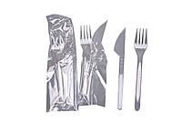 Нож и вилка одноразовые в индивидуальной упаковке 100 шт Прозрачные 99871, КОД: 164998