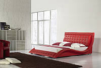 Кожаная двуспальная кровать Sonata Mobel B210 Красная, КОД: 1563940