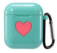 Чехол с карабином для AirPods silicone case Love Mint, КОД: 370947
