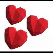 """Силиконовая форма для евроторта """"Граненые сердца"""" арт. 850-5A21032, фото 2"""