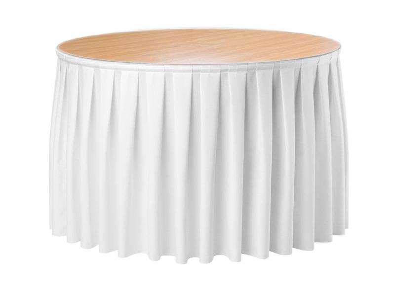 Фуршетна спідниця з липучкою 4,80/0,72 Біла для столу діаметром 150см Стандартної висоти