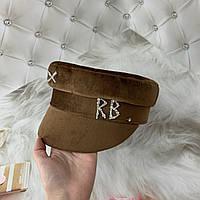 Женский картуз, кепи, фуражка велюровая RB бежевая, фото 1