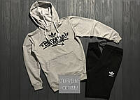 Мужской спортивный костюм Adidas, Адидас, серый верх, черный низ (в стиле)