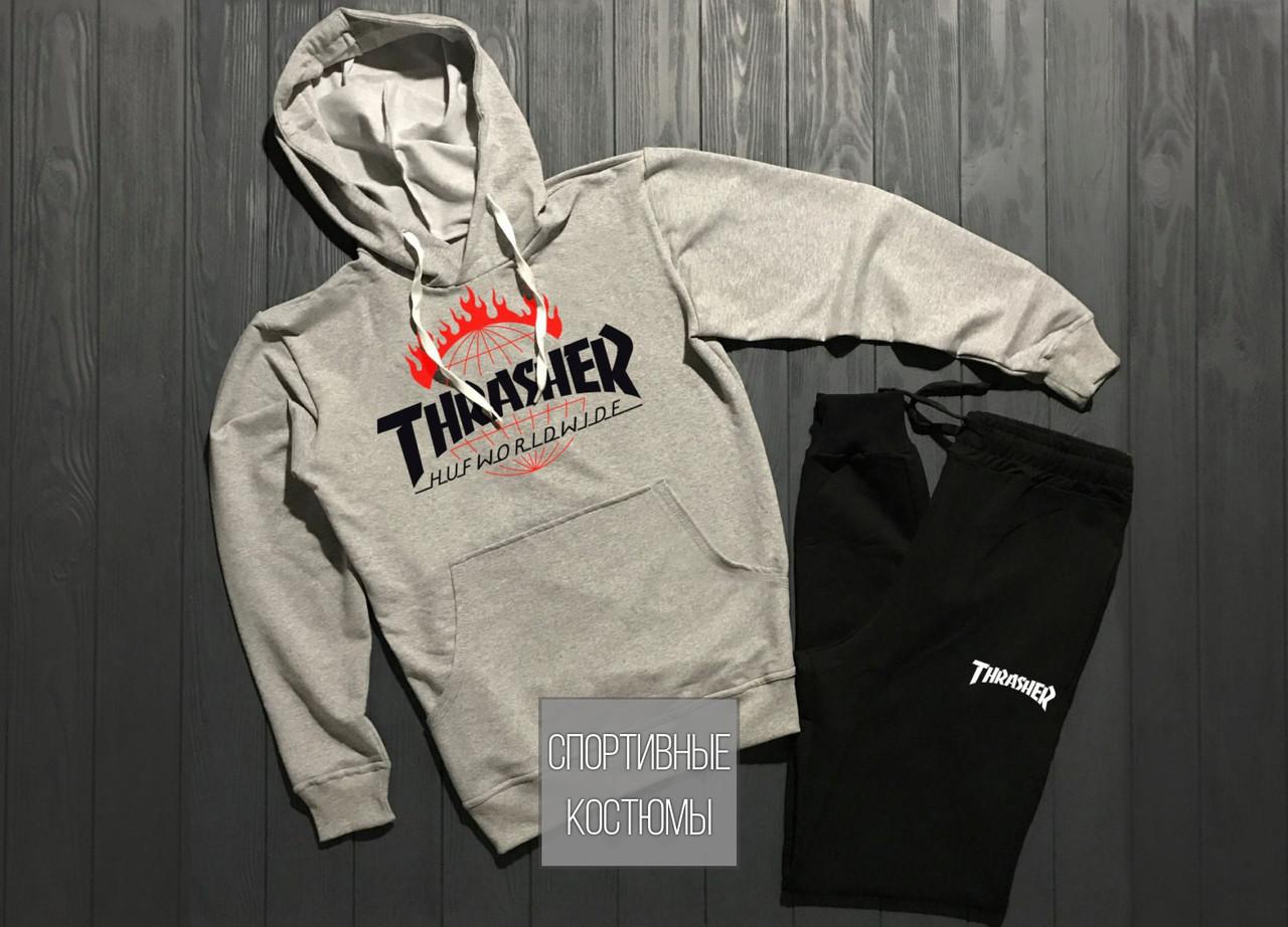 Мужской спортивный костюм Thrasher, трежер, серый верх, черный низ (в стиле)