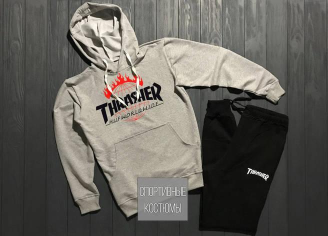 Мужской спортивный костюм Thrasher, трежер, серый верх, черный низ (в стиле), фото 2