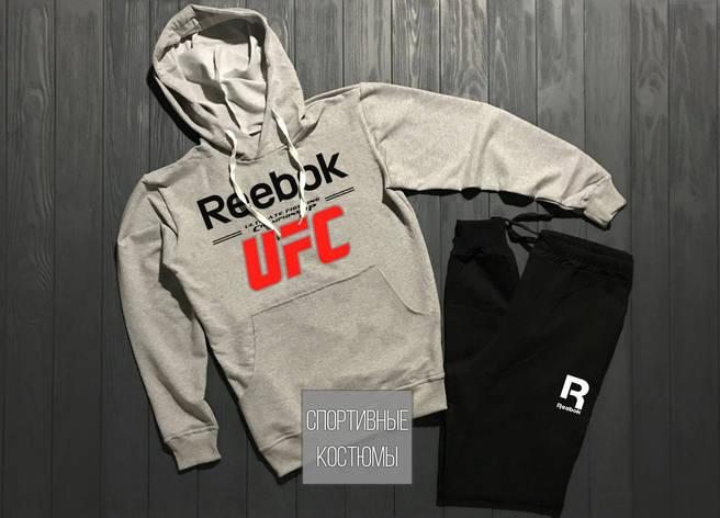 Мужской спортивный костюм Reebok, Рибок, серый верх, черный низ (в стиле), фото 2