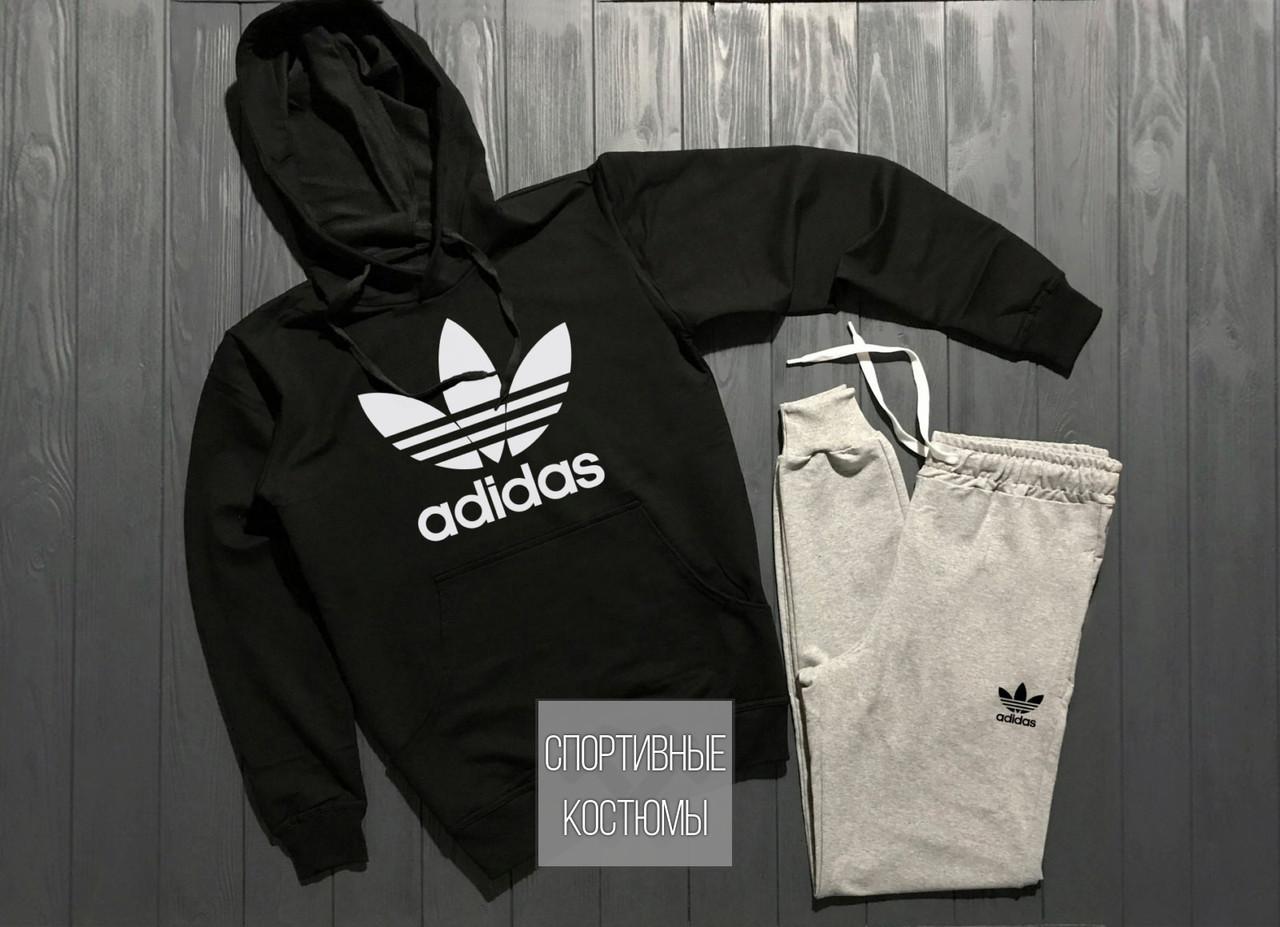 Мужской спортивный костюм Adidas, Адидас, черный верх, серый низ (в стиле)