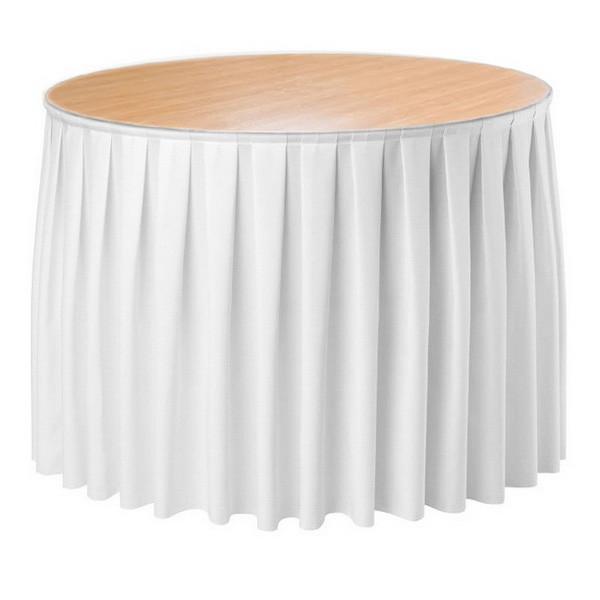 Фуршетна спідниця з липучкою 2,60/0,72 Біла для столу діаметром 80см Стандартної висоти