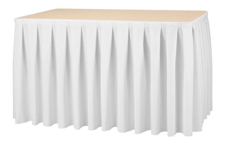 Фуршетна спідниця з липучкою 4,60/0,72 Біла для столу 75х150см Стандартної висоти