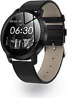 Розумний фітнес браслет Lemfo CF18 leather з вимірюванням тиску (Чорний)