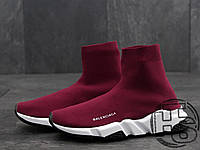 Мужские кроссовки Balenciaga Knit High-Top Sneakers Wine Red