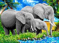 """Схема для вышивки бисером на атласе """"Слоны"""" Размер 36х26 см."""