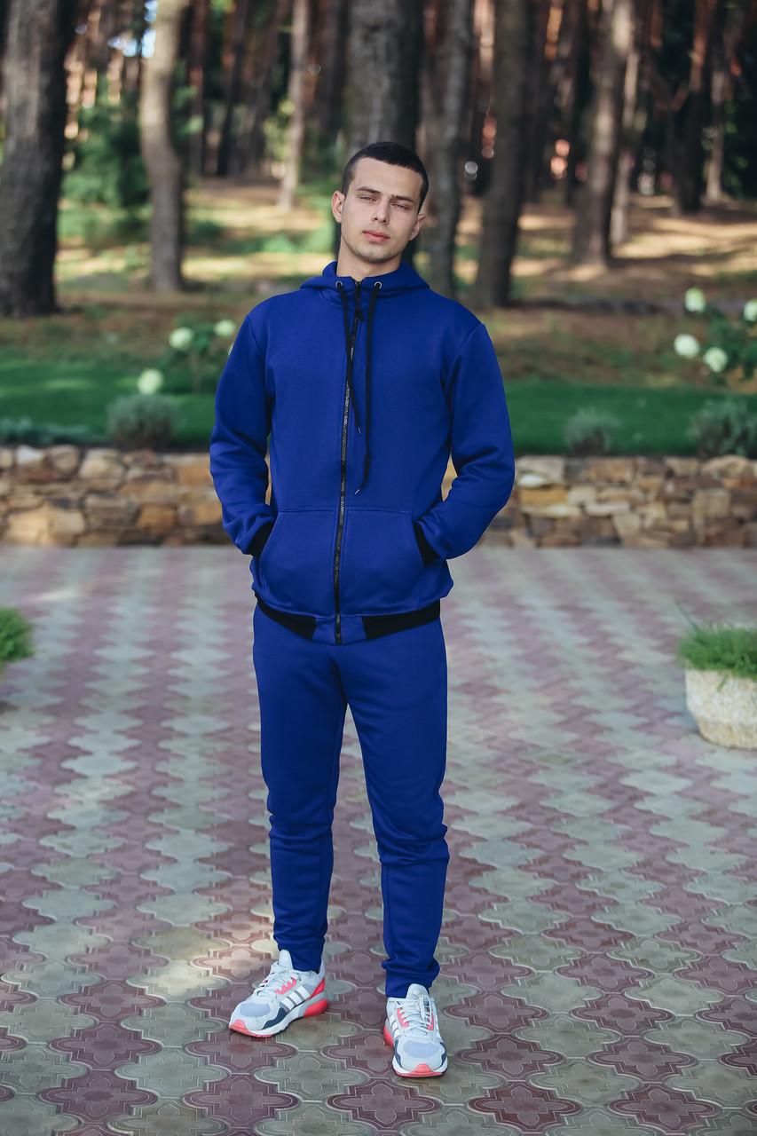 Спортивный костюм мужской синий кенгуру трикотажный