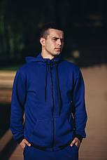 Спортивный костюм мужской синий кенгуру трикотажный, фото 3