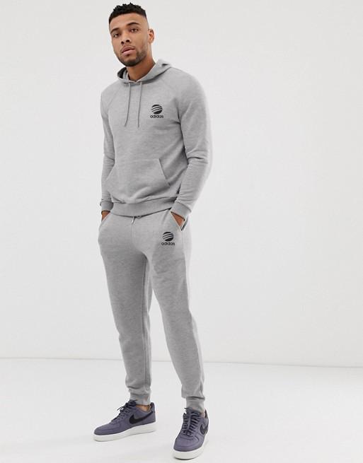 Сірий спортивний чоловічий костюм Adidas (Адідас)