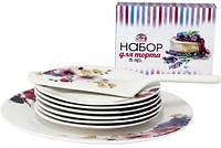 Набор для торта ST Маки - блюдо + тарелок + лопатка Белый ST-3083-08psg, КОД: 172366
