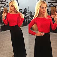 Вечернее платье в пол с кружевным верхом n-3103751